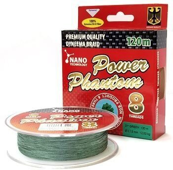 Шнур Power Phantom 8-threads 120м green 0,10/9,15кг