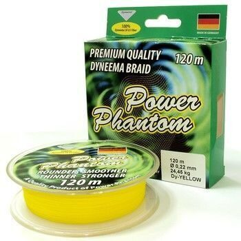 Шнур Power Phantom 120м yellow 0,10/9,15кг
