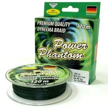 Шнур Power Phantom 120м green 0,30/35,7кг